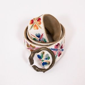 Vintage 70s floral embroidered boho rainbow belt